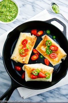 Light Chicken Chimichangas with Chimichurri Sauce