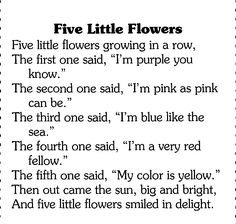 Spring.(sung to 5 little pumpkins tune) print out and make a picture