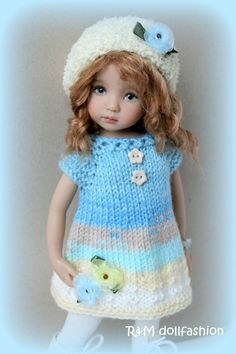 "R&M DOLLFASHION PASTEL LINE OOAK handknit set for Effner Little Darling 13"" doll"