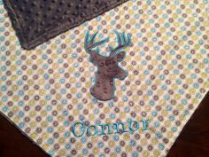 Gray Minky Deer Applique Blanket Personalized by TBEmbroidery4You