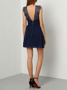 robe col à dos dénudé dentelle -bleu-EmmaCloth-Women Fast Fashion Online