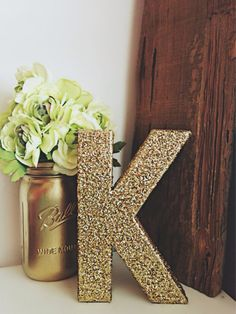Gold Glitter Letter - Gold Glitter Number - Wedding Table Letters - Stand Alone Giant Letter - Wedding Decor - Birthday Decor - Desk Decor