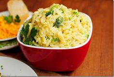 Cheesy broccoli orzo- just orzo & broccoli in boiling water. Drain. Add cheese, butter, & milk.