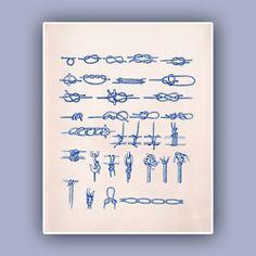 Marine Knots Print, Sailor knots nautical wall  Oceanic art,  Marine and  Nautical art,  Coastal home decor  Sea related Blue print on Etsy, $13.50