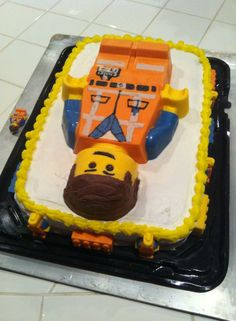 Lego Emmet Cake that I made for my son's 10th Birthday.  Emmet is from The Lego Movie.