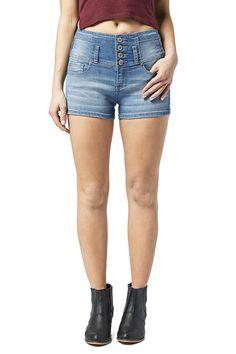 Girls High Rise 4 Button Denim Shorts