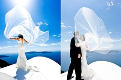 Greek blue sky and sea. Bridal white. Don't you ♥ Santorini?