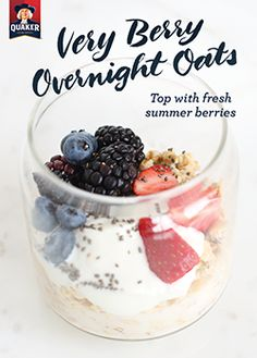 Looking for a new way to make breakfast? Use fresh summer berries in Quaker® Very Berry Overnight Oats to get your day started off on the right foot. Ingredients: ½ cup(s) Quaker® oats, ½ cup(s) low-fat milk, ½ cup(s) Greek yogurt, 1 teaspoon chia seeds (optional), 1 cup fresh mixed fruit and berries