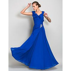 Sheath/Column V-neck Floor-length Chiffon Evening Dress (466845) – USD $ 179.99
