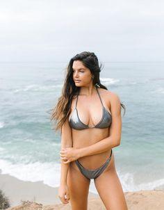 Mako   Black Eclipse REVERSIBLE Triangle Bikini Top.   Swimwear. Bathing Suit. Beach Fashion. Metallic Bikini. Cheeky Brazilian Cut Bikinis. Beach Fashion, Bikini Fashion, Free Spirited Woman, California Dreamin', Designer Swimwear, Triangle Bikini Top, Classic Looks, Pretty Woman