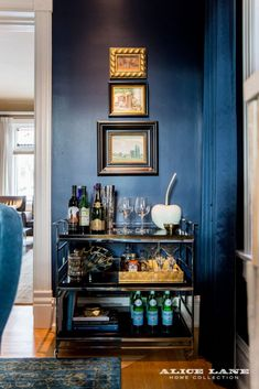 Bar cart styled to a T! Love this moody dining room nook Historic Avenues Art Scene - Alice Lane Home Interior Design Alice Lane Home, Dining Room Blue, Dining Rooms, Bar Interior Design, Mid Century Dining, Room Lights, Home Collections, Cool Furniture, Home Furnishings