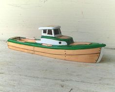 Green Smuggler  Wooden Toy Boat by FriendlyFairies on Etsy, $32.00