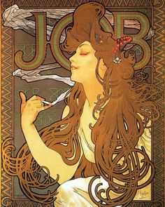 "3,213 curtidas, 25 comentários - Heavy Metal Magazine (@heavymetal) no Instagram: ""Poster for Job cigarette paper by Alphonse Mucha, 1896. #mucha #alphonsemucha"""