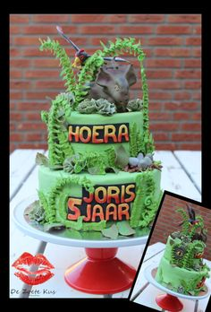 Walking with dinosaurs cake (fondant) with Patchi (fondant) and Alexornis (gumpaste) and lots of fern (made of a fondant role with flower wire and Royal Icing leafs)