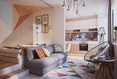 50 Square meters light on small apartment interior design.