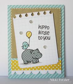 Lawn Fawn - Year Four, Let's Polka 6x6 paper _ cute layered birthday card by Nikki _ Hippo Birdie To You | Flickr - Photo Sharing!