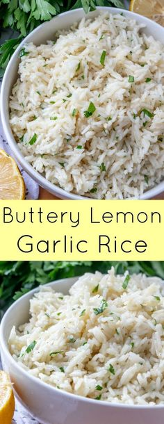 Buttery Lemon Garlic Rice A delicious side dish that goes with almost any meal! … Buttery Lemon Garlic Rice A delicious side dish that goes with almost any meal! Ready in 20 minutes and delicious! Serve with beef, chicken, pork or seafood! Side Dishes For Chicken, Rice Side Dishes, Dinner Side Dishes, Dinner Sides, Side Dishes Easy, Vegetable Side Dishes, Side Dish Recipes, Food Dishes, White Rice Dishes