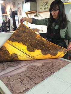 Elise Wagner | Encaustic Workshops | Fine Art | Portland Oregon collagraph monoprint with encaustic