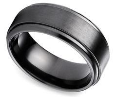 Step Edge Men's Wedding Ring in Black Titanium