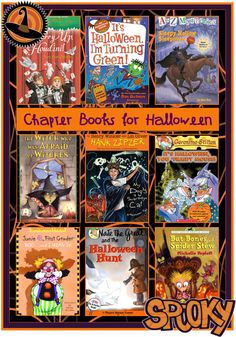 Chapter Books for Halloween.  Great reading list for elementary aged kids.