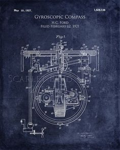 Gyroscopic Compass Patent Drawing