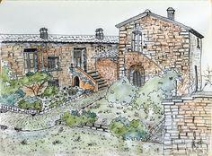 #courtyard by #CanayBatirbekItez #architecturalsketch #sketching #drawing #architecture #markerpen on #moleskine #watercolor #graphinte #stonehouse #landscape #art #artwork #urbansketch