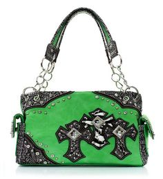 Lime Green Western Style Triple Cross with Diamonds Purse Western Cowgirl Style
