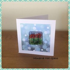 Fused Glass Greeting Card, Handmade, Red Poppy Flower, Floral Gifts, Hand crafted by Minerva Hot Glass Glass Wall Art, Fused Glass Art, Red Poppies, Tea Light Holder, Greeting Cards Handmade, Glass Ornaments, Tea Lights, Poppy, Handmade Gifts