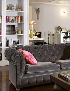 Silver Grey Velvet Tufted Sofa With Pink