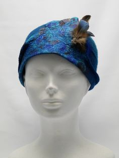 Cloche Silk Felt Hat with Feathers, Persian Blue Felted Hat, Woolen Hat with Feathers Detail, Women's Winter Hats, Unique Felted Hat by GoForFelt on Etsy