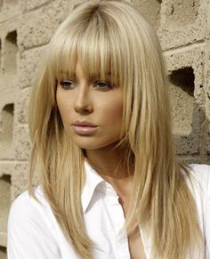 Full Fringe Long Hairstyles With Blonde Shades                                                                                                                                                                                 More