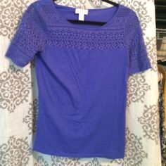 Purple Lace Detail LOFT Top (small) Super cute and comfy top! Perfect with jeans or a skirt! In great condition. LOFT Tops Tees - Short Sleeve