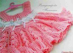 #254 Vestido de Bebé a Crochet o Ganchillo ~ graphs and separate link to written pattern. Use Google translate.