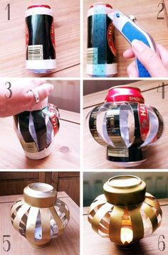 Reused beer Can Lanterns by Bohemian Summer. Doesn't have to be beer, can be anything tall I suppose :) Christmas Lanterns, Christmas Diy, Christmas Decorations, Christmas Ornaments, Table Decorations, Beer Can Christmas Tree, Halloween Lanterns, Outdoor Christmas, Homemade Christmas