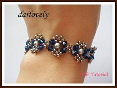 Swarovski Blue Silver Pearl Metal Bracelet (BB025) - PDF Tutorial (Buy 3 get 1 Free) via Etsy
