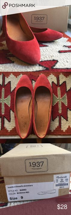 Madewell Red Suede Pointy Flats Madewell red suede pointies. Worn outside 4-5 times (never in wet conditions!), so have some minor signs of wear. Flats. Cute, cute shoes. Reasonable offers welcome, bundle to really save! Madewell Shoes Flats & Loafers