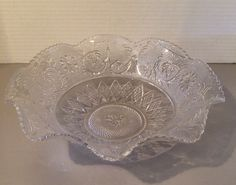 Duncan & Miller Clear Sandwich Glass Ruffled or Crimped Large Bowl  by VintageLoveAntiques on Etsy https://www.etsy.com/listing/220246339/duncan-miller-clear-sandwich-glass