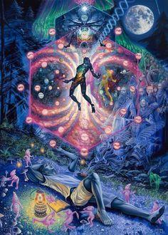 """A Midsummer Night's Trip"" by artist MEAR ONE. - DMT Psychadelic Art, Trippy Wallpaper, Psy Art, Arte Obscura, Hippie Art, Visionary Art, Surreal Art, Aesthetic Art, Art Inspo"