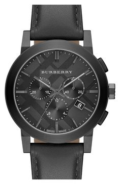 51e5f5598442c Burberry Check Stamped Chronograph Leather Strap Watch