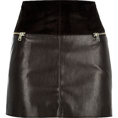 Black leather-look zip side pelmet skirt - £30 #riverisland