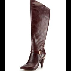 """Dolce Vita Ellen Over-the-Knee Boot very good cond HIGH-END QUALITY BORDEAUX color LEATHER BOOTS. SOLD OUT EVERYWHERE  Sizing: True to size.  - Pointed toe - Buckle strap detail - Partial side zip closure - Asymmetrical shaft - Back pull-tab - Covered cone heel with metal detail - Approx. 15"""" shaft height, 16"""" opening circumference - Approx. 3.75"""" heel - Imported Materials: Leather upper, manmade sole Dolce Vita Shoes Over the Knee Boots"""