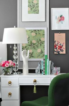 Framed Rifle Paper Co. Emerald Peonies Paper for artwork