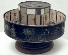 The Praxinoscope was created by Charles Reynauld in 1877. It uses the same principles as previous works, but paved the way for early cinema viewing. Images are spaced out equally on the inside of the cylinder, and can be viewed on the small mirrors. There are no slots for viewing so the the animation is reflected off the mirrors to be projected on a large screen. This allowed many people to watch it. Furthermore, the mirror positioning makes for a smoother illusion of movement.