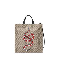Shop for Kingsnake print soft GG Supreme tote by Gucci at ShopStyle. Men's Totes, Designer Totes, Womens Tote Bags, Men Bags, Snake Print, Tote Handbags, Leather Men