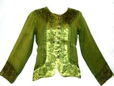 rayon jacket w embroidered satin trim - parrot green