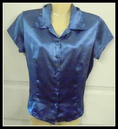 EXTRA Silky soft Button down Shirt LAVENDER Polyester Medium Cap sleeves #EXTRA…