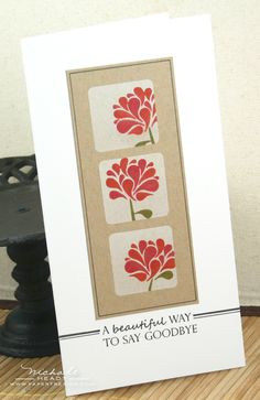 Great design for a long card and using the same stamp for three different looks