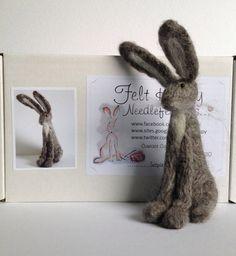 Grey hare needle felt kit starter kit by FeltHoppy on Etsy