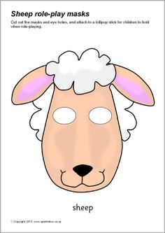 sheep mask, could glue on cotton balls Sheep Costumes, Nativity Costumes, Animal Costumes, Printable Masks, Printable Animals, Animal Masks For Kids, Mask For Kids, Sheep Mask, Tableaux Vivants