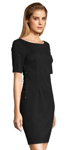 Adrianna Papell | Short Sleeve Sheath Dress with Lace Up Sides